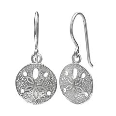 Primrose Sterling Silver Textured Sand Dollar Drop Earrings