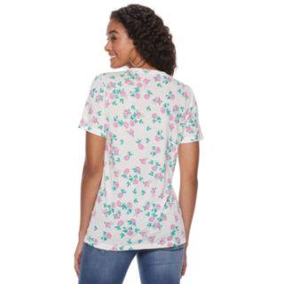 Juniors' Flower Print V-neck Tee