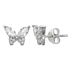 Primrose Sterling Silver Cubic Zirconia Butterfly Stud Earrings