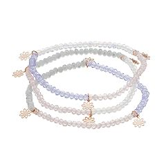 LC Lauren Conrad Clear Bead & Rose Gold Tone Flower Charm Stretch Bracelet Set