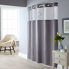 Fabric Shower Curtain Liner Set Gray Blue White
