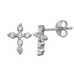 Primrose Sterling Silver Cubic Zirconia Cross Stud Earrings
