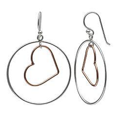 Primrose Two-Tone Heart Hoop Earrings