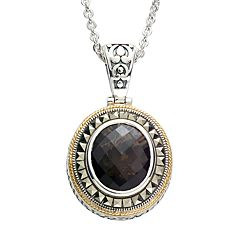 Lavish by TJM 14k Gold Over Silver & Sterling Silver Smoky Quartz Frame Pendant