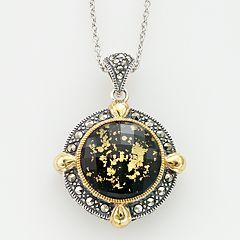 Lavish by TJM 14k Gold Over Silver & Sterling Silver Crystal & Onyx Doublet Frame Pendant