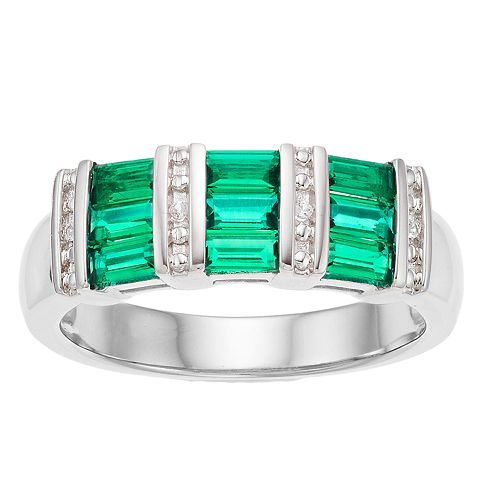 Sterling Silver Rectangle Gemstone Ring