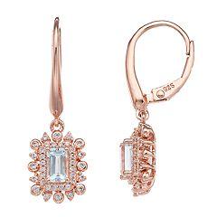 14k Rose Gold Over Silver Aquamarine Drop Earrings