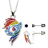My Little Pony Rainbow Dash Cubic Zirconia Pendant & Stud Earring Set