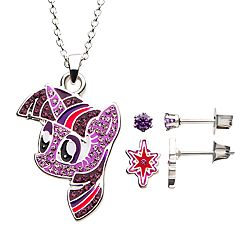 My Little Pony Twilight Sparkle Cubic Zirconia Pendant & Earring Stud Set