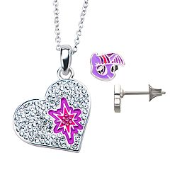 My Little Pony Twilight Sparkle Cubic Zirconia Heart Necklace & Earrings Set