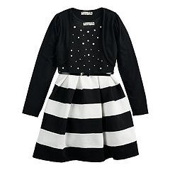 Girls 7-16 & Plus Size Knitworks Striped Skater Dress & Shrug Set