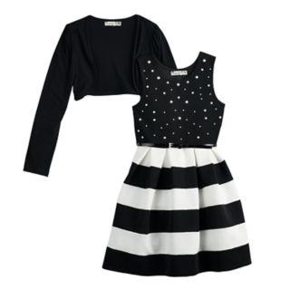 Girls 7-16 & Plus Size Knitworks Striped Skater Dress & Shrug Set