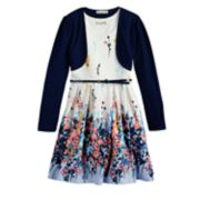 Girls 7-16 & Plus Size Knitworks Floral Skater Dress & Shrug Set