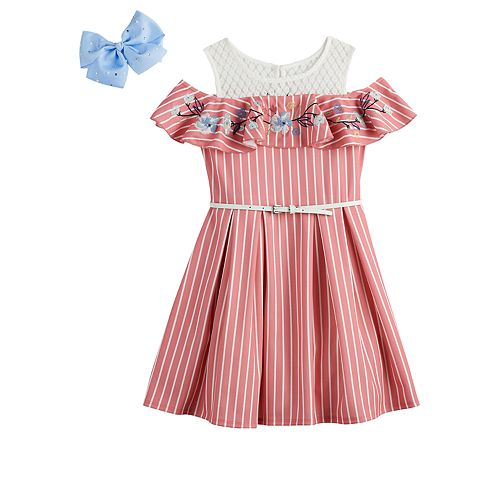 Girls 7-16 & Plus Size Knitworks Cold-Shoulder Ruffle Skater Dress & Bow