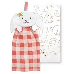 Celebrate Easter Together Easter Bunny Tie-Top Kitchen Towel 2-pack
