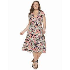 Plus Size Suite 7 Dot Midi Dress