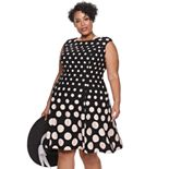 Plus Size Suite 7 Contrasting Polka Dot Fit & Flare Dress
