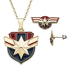Marvel Captain America Pendant & Earring Set