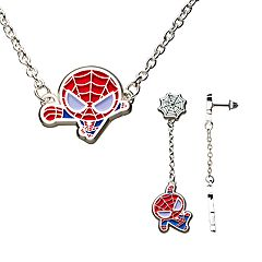 Marvel Spider-Man Silver Plated Necklace and Earring Set