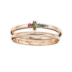 LC Lauren Conrad Rose Gold Tone Simulated Stone Cross Ring Set