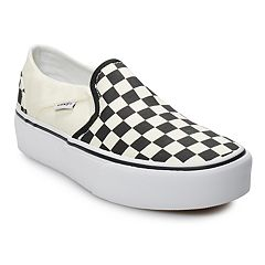 Vans Asher Women s Platform Skate Shoes. Cream Black Check 55647976e