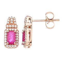 10k Rose Gold Ruby & 1/5 Carat T.W. Diamond Post Earrings