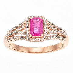 10k Rose Gold Ruby & 1/4 Carat T.W. Diamond Ring