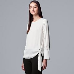 Women's Simply Vera Vera Wang Side-Tie Satin Top