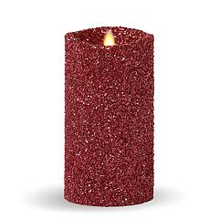 Matchless Candle Co. Moving Flame® 3.5' x 7' Luminara Red Glitter Pillar Candle