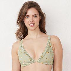 cbacabb28fb Women s LC Lauren Conrad Ruffle Halter Bikini Top. Black Green Ditzy Lemon  ...