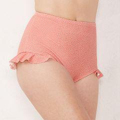 Women's LC Lauren Conrad Ruffle High-Waisted Bikini Bottoms