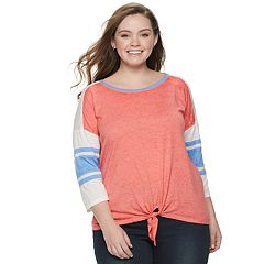 Juniors' Plus Size SO® Tie-Front Varsity Tee