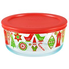 Pyrex Round 4-cup Christmas Food Storage Container