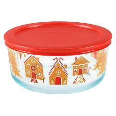 Pyrex Round 7-cup Gingerbread Village Food Storage Container