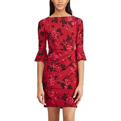 Women's Chaps Floral Ruffle-Sleeve Sheath Dress