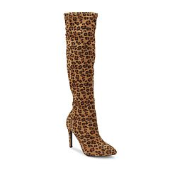 Olivia Miller Gambell Women's Leopard Print High Heel Knee High Boots