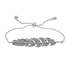 LC Lauren Conrad Silver Tone Simulated Stone Feather Motif Adjustable Bracelet