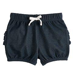 Baby Girl Jumping Beans® Ruffled Denim-Like Bubble Shorts
