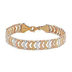 10k Gold Tri-Tone Chevron Link Bracelet