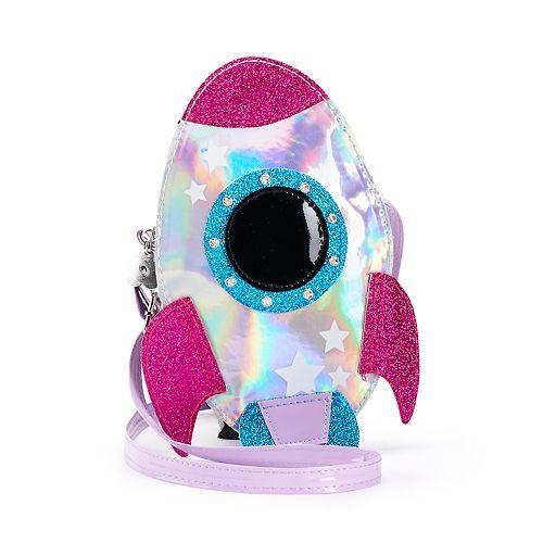 Girls Limited Too Glitter Rocket Ship Handbag