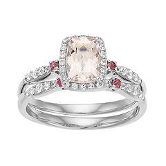 10k White Gold Morganite & White Topaz Halo Ring Set