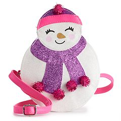 Girls Limited Too Glittery Snowman Crossbody Bag Purse