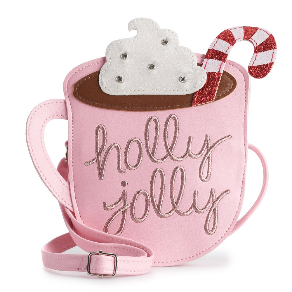 "Girls Limited Too Glittery ""Holly Jolly"" Hot Cocoa Crossbody Bag Purse"