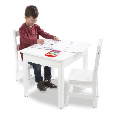 Melissa & Doug White Wooden Table & Chairs Set