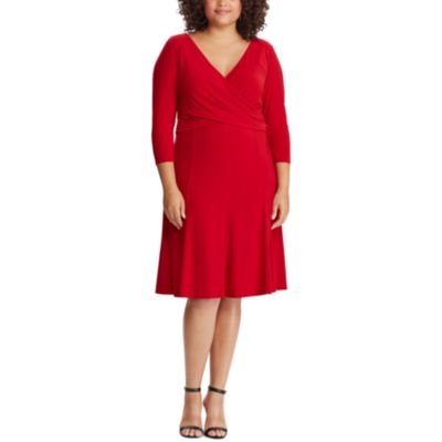 Plus Size Chaps Crossover Fit & Flare Dress