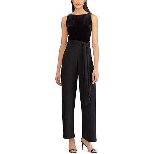 Women's Chaps Velvet Bodice Black Jumpsuit