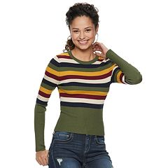 Juniors' It's Our Time Striped Scoopneck Top