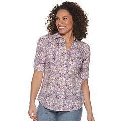 436af1c5 Women's Croft & Barrow® Button Front Roll-Tab Shirt. Blue Stripe Barely  Pink Black Check Orchid Bright White ...
