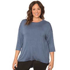 Plus Size Retrology Lace-Up Drop Shoulder Top