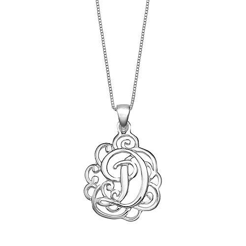 PRIMROSE Sterling Silver Monogram Initial Pendant Necklace